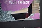 Smashed glass in phone box