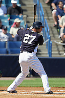 New York Yankees outfielder Raul Ibanez #27 at bat during a scrimmage against the USF Bulls at Steinbrenner Field on March 2, 2012 in Tampa, Florida.  New York defeated South Florida 11-0.  (Mike Janes/Four Seam Images)