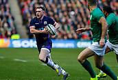9th February 2019, Murrayfield Stadium, Edinburgh, Scotland; Guinness Six Nations Rugby Championship, Scotland versus Ireland; Greig Laidlaw (Scotland Captain) pushes forward
