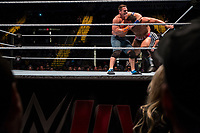 John Cena (left) holds Rusev, The Bulgarian Brute,  during their match at a WWE Live Summerslam Heatwave Tour event at the MassMutual Center in Springfield, Massachusetts, USA, on Mon., Aug. 14, 2017. Rusev lost the match.