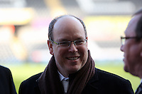 SWANSEA, WALES - FEBRUARY 07: Prince Albert of Monaco is being shown around the stadium before the Premier League match between Swansea City and Sunderland AFC at Liberty Stadium on February 7, 2015 in Swansea, Wales.