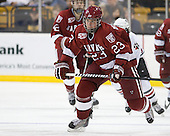 Matt McCollem (Harvard - 23) - The Northeastern University Huskies defeated the Harvard University Crimson 4-0 in their Beanpot opener on Monday, February 7, 2011, at TD Garden in Boston, Massachusetts.