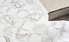 Mallorca, a stone waterjet mosaic, show in polished Calacatta Gold, is part of the Miraflores Collection by Paul Schatz for New Ravenna.