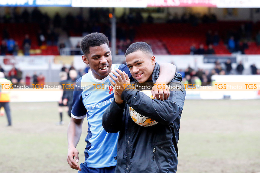 O's Josh Koroma celebrates at the end of the game with the match ball after scoring his hat trick during Newport County vs Leyton Orient, Sky Bet EFL League 2 Football at Rodney Parade on 4th March 2017