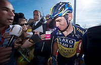 48th Amstel Gold Race 2013..winner: Roman Kreuzinger (CZE) mobbed by press after the finishline