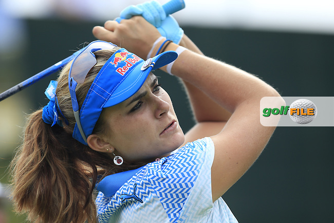 Lexi Thompson (USA) tees off the 6th tee during Sunday's Final Round of the LPGA 2015 Evian Championship, held at the Evian Resort Golf Club, Evian les Bains, France. 13th September 2015.<br /> Picture Eoin Clarke | Golffile