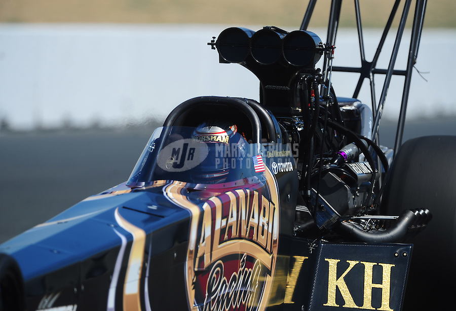 Jul. 30, 2011; Sonoma, CA, USA; NHRA top fuel dragster driver Del Worsham during qualifying for the Fram Autolite Nationals at Infineon Raceway. Mandatory Credit: Mark J. Rebilas-