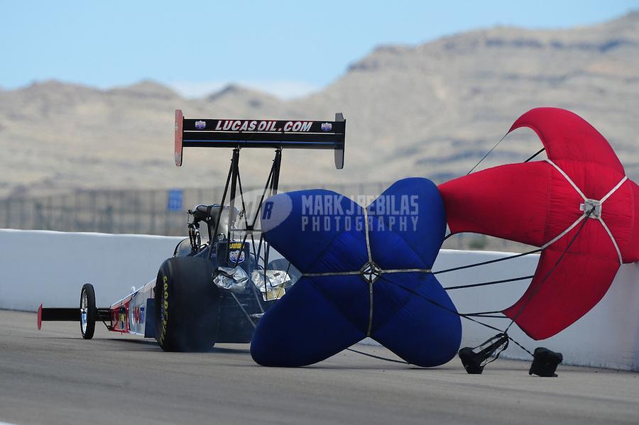 Apr. 3, 2011; Las Vegas, NV, USA: NHRA top fuel dragster driver Shawn Langdon during the Summitracing.com Nationals at The Strip in Las Vegas. Mandatory Credit: Mark J. Rebilas-