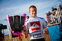 LA GRAVIERE, Hossegor/France (Tuesday, October 2, 2012) Kolohe Andino (USA). - The Quiksilver Pro France, Event No. 7 of 10 on the 2012 ASP World Championship Tour (WCT), was put on hold until 3 pm today at La Graviere..The swell was in the 2 meter range but was closing out on most of the waves making conditions unsuitable for competition. Organisers waited till the conditions improved before kicking off at 3pm and running seven heats of Round Two. .. Photo: joliphotos.com