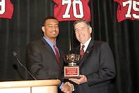 14 January 2007: Bob Bowlsby presents an award to Brandon Harrison at the annual football banquet at McCaw Hall in Stanford, CA.