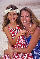 Mother and daughter in aloha wear at Kailua Beach Park