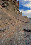 Fossil Layers of seashells along cliff of sandstone on Isla San Jose, Sea of Cortez, Baja