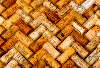 Wine corks placed in a pattern.