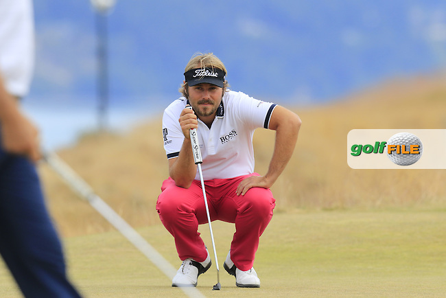 Victor DUBUISSON (FRA) lines up his putt on the 17th green during Thursday's Round 1 of the 2015 U.S. Open 115th National Championship held at Chambers Bay, Seattle, Washington, USA. 6/18/2015.<br /> Picture: Golffile | Eoin Clarke<br /> <br /> <br /> <br /> <br /> All photo usage must carry mandatory copyright credit (&copy; Golffile | Eoin Clarke)