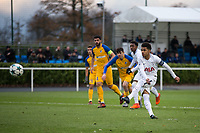 Marcus Edwards of Spurs U19 hits a penalty kick which rebounds off the crossbar during the UEFA Youth League match between Tottenham Hotspur U19 and Apoel Nicosia (APOEL) at Tottenham Hotspur Training Ground, Hotspur Way, England on 6 December 2017. Photo by Andy Rowland.