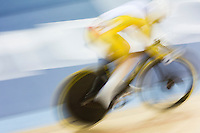 06 AUG 2012 - LONDON, GBR - Anna Meares (AUS) of Australia leads Lyubov Shulika of Ukraine during their Individual Sprint quarter final first race at the London 2012 Olympic Games track cycling at the Olympic Park Velodrome in Stratford, London, Great Britain .(PHOTO (C) 2012 NIGEL FARROW)
