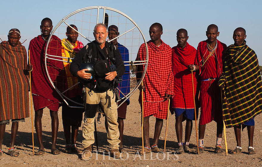 Kenya, near Amboseli, Maasai surrounding me after a landed near one of their villages