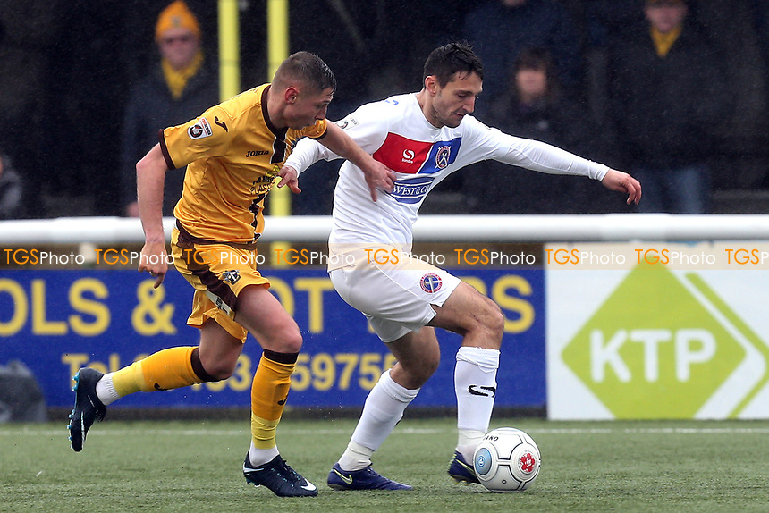 Luke Howell of Dagenham  and Harry Beautyman of Sutton during Sutton United  vs Dagenham & Redbridge, Vanarama National League Football at the Borough Sports Ground on 20th January 2018