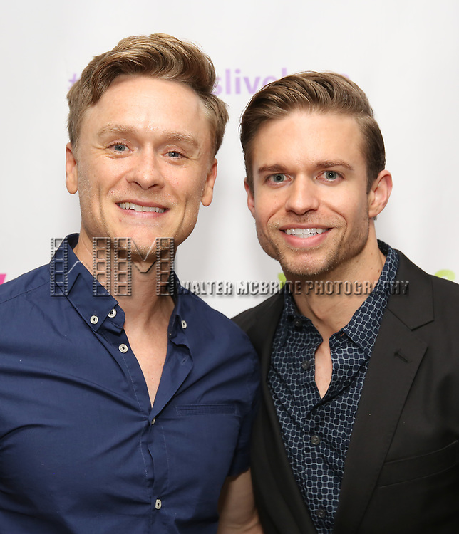 "Josh Canfield and Hunter Ryan Herdlicka backstage at the New York Musical Festival production of  ""Alive! The Zombie Musical"" at the Alice Griffin Jewel Box Theatre on July 29, 2019 in New York City."