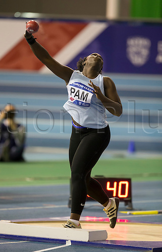 27.02.2016. EIS Sheffield, Sheffield, England. British Indoor Athletics Championships Day One. Simi Pam during the Shot Put Final.