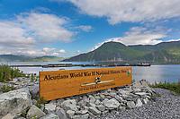 Sign for Aleutians world war II national historic area, mt. Ballyhoo, Amaknak Island, Dutch Harbor, Aleutian Islands, Alaska.