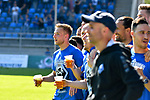 20.04.2019, Carl Benz Stadion, Mannheim, GER, RL Sued, SV Waldhof Mannheim vs. VfR Wormatia Worms, <br /> <br /> DFL REGULATIONS PROHIBIT ANY USE OF PHOTOGRAPHS AS IMAGE SEQUENCES AND/OR QUASI-VIDEO.<br /> <br /> im Bild: Die Mannheimer, vorne Timo Kern (SV Waldhof Mannheim #10) erwarten den Abpfiff und den Aufstieg<br /> <br /> Foto © nordphoto / Fabisch