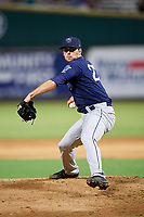 Mobile BayBears relief pitcher Jake Jewell (27) delivers a pitch during a game against the Jacksonville Jumbo Shrimp on April 14, 2018 at Baseball Grounds of Jacksonville in Jacksonville, Florida.  Mobile defeated Jacksonville 13-3.  (Mike Janes/Four Seam Images)