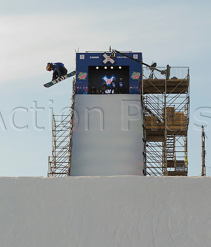 26.02.2016. Wyller Oslo Winter Park, Oslo, Norway. Red Bull X Games. Mens Snowboard Big Air  Round 1. Yuki Kadono of Japan competes in the men's Snowboard Big Air Elimination during the X Games Oslo 2016 at the Wyller Oslo winter park in Oslo, Norway.