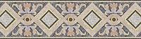 "15"" Ivana border, a hand-cut stone mosaic, shown in polished  Rosa Portagallo, Desert Pink, Jerusalem Gold, Calacatta Tia, Montevideo, Bardiglio, and Botticino."