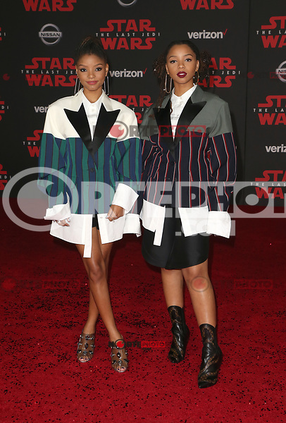 LOS ANGELES, CA - DECEMBER 9: Halle Bailey, Chloe Bailey, at Premiere Of Disney Pictures And Lucasfilm's 'Star Wars: The Last Jedi' at Shrine Auditorium in Los Angeles, California on December 9, 2017. Credit: Faye Sadou/MediaPunch /NortePhoto.com NORTEPHOTOMEXICO