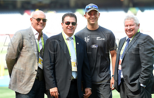 29.03.2015. MCG Stadium, Melbourne, Australia.  Martin Crowe, Ian Taylor, Shane Bond and Ian Smith at the ICC Cricket World Cup Final. New Zealand Black Caps versus Australia at the MCG in Melbourne, Australia. Saturday 29th March 2015.