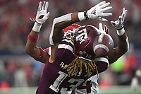 NWA Democrat-Gazette/J.T. WAMPLER Arkansas' Jarques McClellion plays defense as Texas A&M's Kendrick Rogers misses a pass Saturday Sept. 29, 2018 at AT&T Stadium in Arlington. The Aggies beat the Razorbacks 24-17.