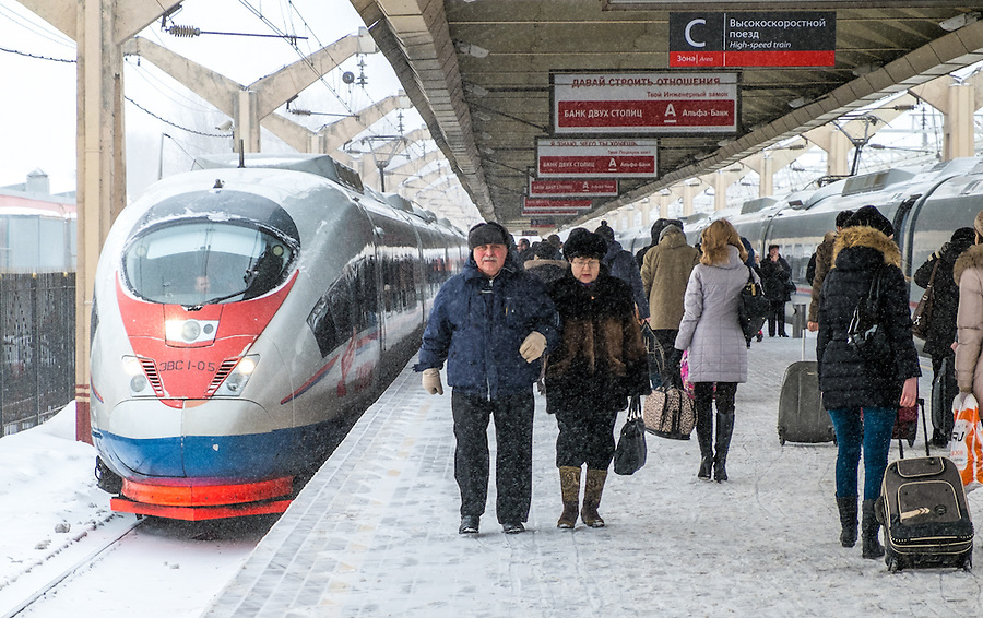 MOSCOW - CIRCA MARCH 2013: Passengers in the Leningradsky Railway Station circa 2013. With a population of more than 11 million people is one the largest cities in the world and a popular tourist destination.