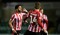 Lincoln City's Bruno Andrade, left, celebrates scoring his side's third goal with team-mate Harry Toffolo<br /> <br /> Photographer Chris Vaughan/CameraSport<br /> <br /> Emirates FA Cup First Round - Lincoln City v Northampton Town - Saturday 10th November 2018 - Sincil Bank - Lincoln<br />  <br /> World Copyright © 2018 CameraSport. All rights reserved. 43 Linden Ave. Countesthorpe. Leicester. England. LE8 5PG - Tel: +44 (0) 116 277 4147 - admin@camerasport.com - www.camerasport.com