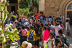 Christian pilgrims preparing to walk the Via Dolorosa begin at the Convent of the Sisters of Zion in the Muslim Quarter of the Old City of Jerusalem.  The Old City of Jerusalem and its Walls is a UNESCO World Heritage Site.