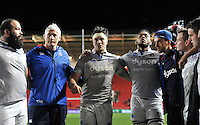 Francois Louw of Bath Rugby speaks to his team-mates in a post-match huddle. European Rugby Challenge Cup match, between Bristol Rugby and Bath Rugby on January 13, 2017 at Ashton Gate Stadium in Bristol, England. Photo by: Patrick Khachfe / Onside Images