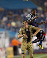 New England Revolution midfielder Sainey Nyassi (17) and Philadelphia Union forward Sebastien Le Toux (9) battle for head ball. The Philadelphia Union defeated New England Revolution, 2-1, at Gillette Stadium on August 28, 2010.