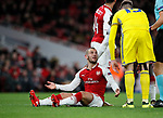 Arsenal's Jack Wilshere complains after getting elbowed during the Europa League Group H match at The Emirates Stadium, London. Picture date: December 7th 2017. Picture credit should read: David Klein/Sportimage