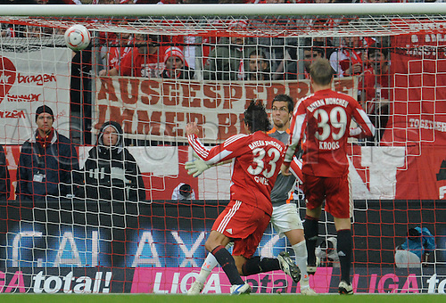Bayern Munich's Mario Gomez scores the 3-0, which is his third goal in the game, while Hanover's goalkeeper Florian Fromlowitz cannot intervene during German Bundesliga match FC Bayern Munich vs Hanover 96 in the Allianz Arena in Munich, Germany, 16 October 2010.