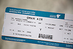 Close up of Oman Air economy boarding pass  ticket