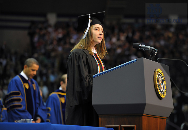Adrienne Murphy gives the invocation at the 2009 Commencement ceremony...Photo by Matt Cashore/University of Notre Dame