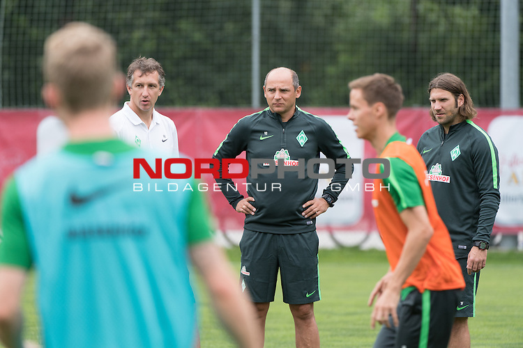 23.07.2016, Parkstadion , Zell am Ziller, AUT, TL Werder Bremen 2016 - Training Tag 03, <br /> <br /> im Bild<br /> Viktor Skripnik (Trainer Werder Bremen) <br /> Frank Baumann (Geschaeftsfuehrer Sport Werder Bremen)<br /> Torsten Frings (Co-Trainer Werder Bremen)<br /> Niklas Moisander (Bremen #18)<br /> <br /> Foto &copy; nordphoto / Kokenge