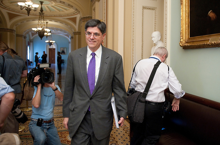 UNITED STATES - AUGUST 1: Director of the Office of Management and Budget Jacob Lew walks through the Senate side of the Capitol on Monday August 1, 2011, as Congress prepares to vote on the debt ceiling increase. (Photo By Bill Clark/Roll Call)