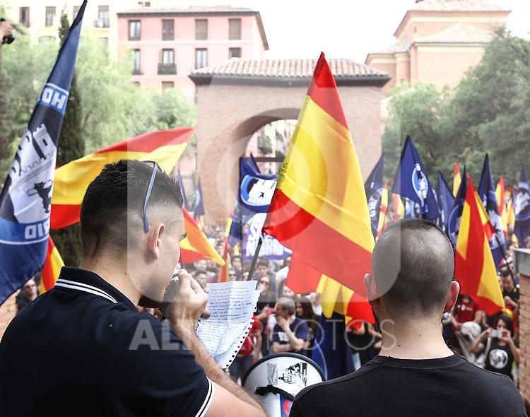 "Manifestation of far-right group , Hogar Social Madrid under the slogan "" Defend Spain , defend your people "", in the streets of Gran Via , San Bernardo and Plaza Dos de Mayo.  May 21, 2016. (ALTERPHOTOS/Rodrigo Jimenez)"