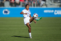 Cary, North Carolina - Sunday December 6, 2015: Imani Dorsey (3) of the Duke Blue Devils kicks the ball during second half action against the Penn State Nittany Lions at the 2015 NCAA Women's College Cup at WakeMed Soccer Park.  The Nittany Lions defeated the Blue Devils 1-0.