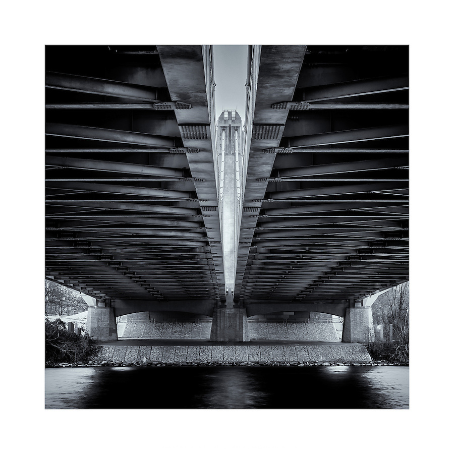 Under the Father Hennepin Bridge in Minneapolis, Minnesota.