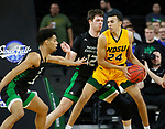 SIOUX FALLS, SD - MARCH 10: Tyson Ward #24 of the North Dakota State Bison drives into Filip Rebraca #12 of the North Dakota Fighting Hawks during the men's championship game at the 2020 Summit League Basketball Tournament in Sioux Falls, SD. (Photo by Richard Carlson/Inertia)