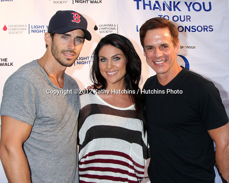 LOS ANGELES - OCT 6:  Brandon Beemer, Nadia Bjorlin, Christian LeBlanc attends the Light The Night Walk to benefit The Leukemia & Lymphoma Society at Sunset Gower Studios on October 6, 2012 in Los Angeles, CA