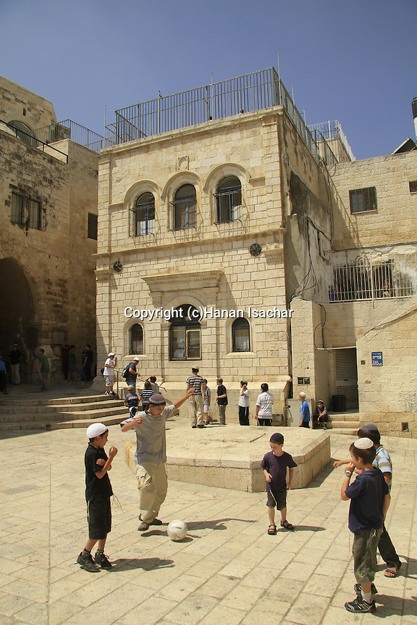 Israel, Jerusalem Old Ciry, children playing at the Jewish quarter