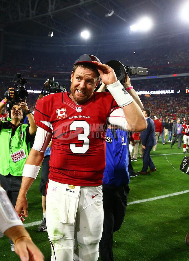 Jan 16, 2016; Glendale, AZ, USA; Arizona Cardinals quarterback Carson Palmer (3) reacts against the Green Bay Packers during an NFC Divisional round playoff game at University of Phoenix Stadium. Mandatory Credit: Mark J. Rebilas-USA TODAY Sports